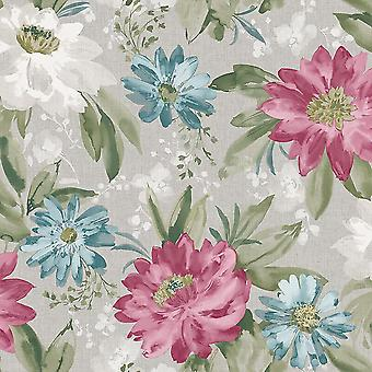 Painted Dahlia Floral Wallpaper Flowers Pink Lilac Blue Grey Feature Arthouse