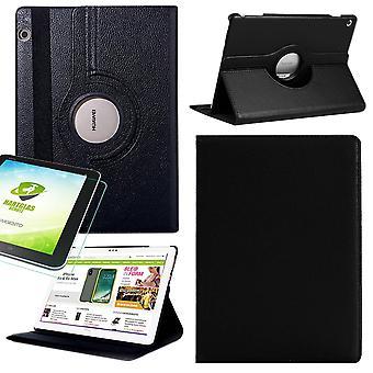For Samsung Galaxy Tab S5e T720 T725 360 grader sag Cover taske sort kunstlæder sag ny + 0,3 mm hårdt glas