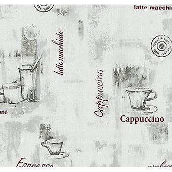 Grey Red Coffee Cup Wallpaper Typography Kitchen Textured Paste Wall Vinyl P+S