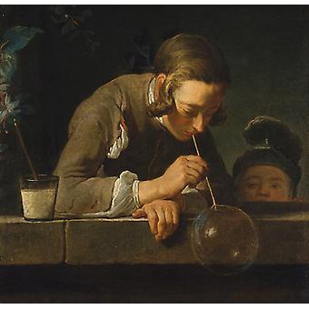 Boy Blowing Bubbles,Jean Baptiste Simeon Chardin,50x48cm