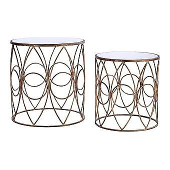 Fusion Living Nest lustrzanych górnych stołów bocznych z antyczną złotą ramą