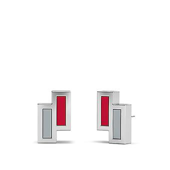 The Ohio State University Sterling Silver Asymmetric Enamel Stud Earrings In Red and Grey