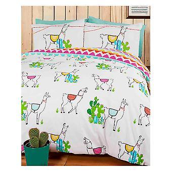 Happy Llamas Duvet Cover and Pillowcase Set