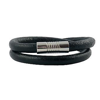 Lederkette Lederband 4 mm Herren Halskette Schwarz 17-100 cm lang mit Magnet-Verschluss Silber Rund