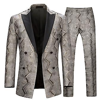 Allthemen menns smoking 2-stykker dresser Gold wire Wedding Party blazer & bukser