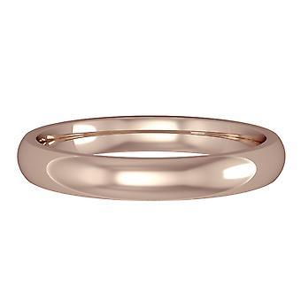 Κοσμήματα Λονδίνο 18ct ροζ Rose Gold-3mm ουσιαστικό σχήμα Δικαστηρίου μπάντα δέσμευση/δαχτυλίδι γάμου
