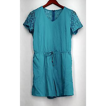 Kate et Mallory Jumpsuits Romper w/ Cut Out Short Sleeve Aqua Blue A426425
