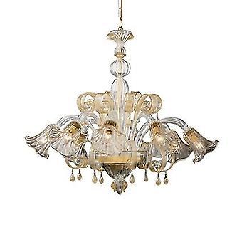 Ideal Lux - Ca'd ' Oro Amber Glas acht Licht Kronleuchter IDL020976