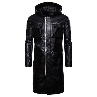 Allthemen Men's Mid-Long Big Pocket Zipper Hooded Leather Coat Motorcycle Jackets