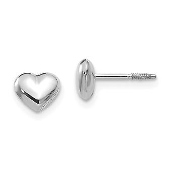 14k White Gold Hollow Polished Screw back Puff Love Heart Post Earrings Measures 5x6mm Jewelry Gifts for Women