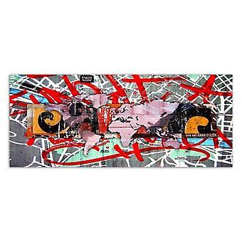 Canvas, foto op canvas, wereld kaart, graffiti
