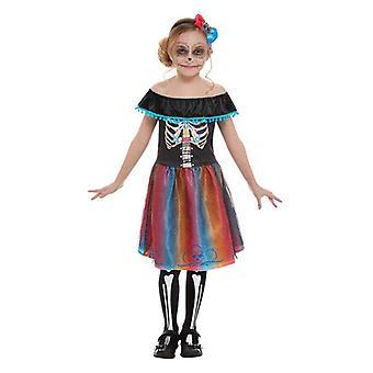 Ragazze Neon Giorno del Vestito Fantasia Morto Costume