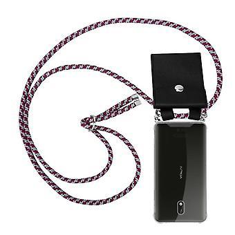 Caja de la cadena del teléfono Cadorabo para Nokia 3 2017 cubierta de la caja - cubierta de la capa del collar de silicona con anillos de plata - cable de la banda del cordón y cubierta protectora de la caja extraíble