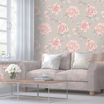 Rosa bloemen behang Belgravi