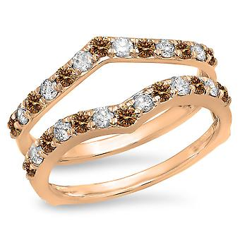 Dazzlingrock Collection 0.95 Carat (ctw) 14K Champagne & White Diamond Wedding Guard Double Band 1 CT, Rose Gold