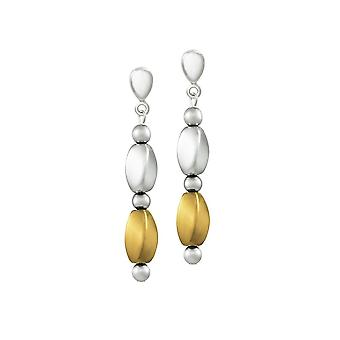 Eternal Collection Visage Silver And Gold Hematite Silver Tone Drop Screw Back Clip On Earrings