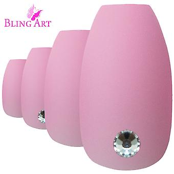 False nails by bling art pink matte ballerina coffin 24 fake long acrylic tips