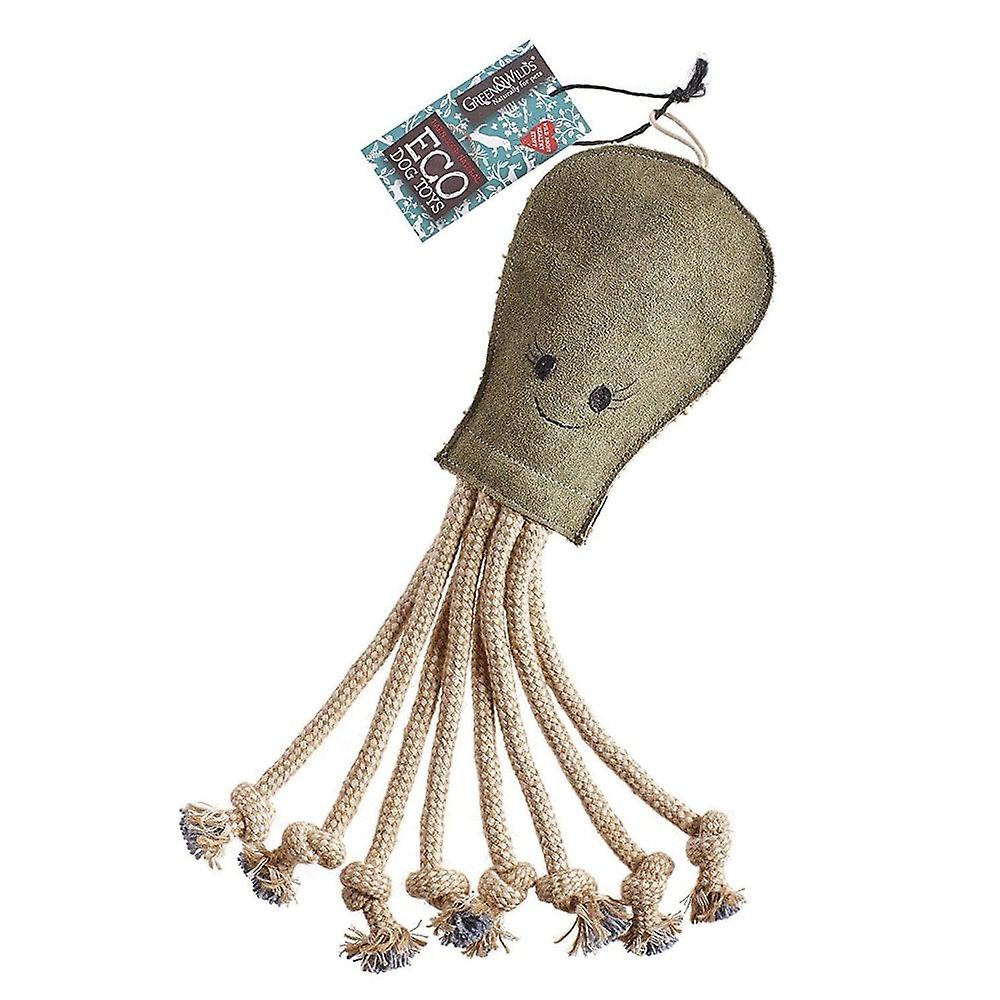 Green & Wild Olive The Octopus Eco Dog Toy Jute & Suede Green & Wild