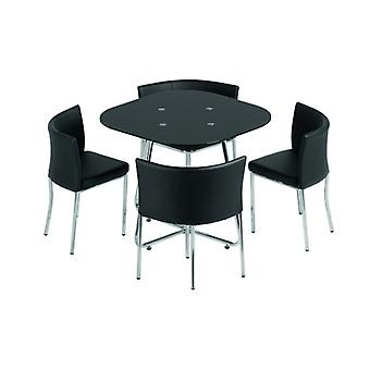 Washington Stowaway Dining Set Schwarz Glas/Chrom/schwarz Pu