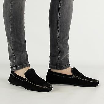 Catesby Shoemakers Joseph Mens Suede Casual Driving Loafers Black