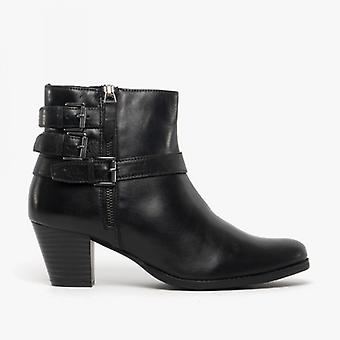 Comfort Plus Kat Ladies Leather Ankle Boots Black