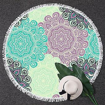 Turquoise and Lilac Mandala Beach Towel