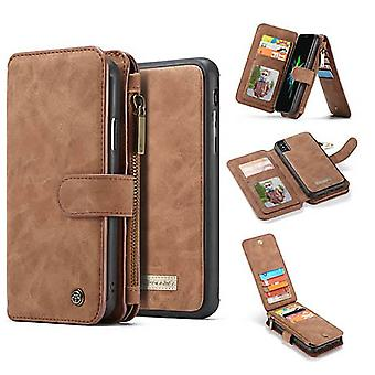 Iphone Xs Max Brown Multifunction Wallet - Caseme
