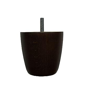 Round dark brown wooden furniture leg 8 cm (M8)