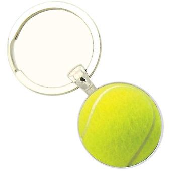 Bassin and Brown Tennis Ball Key Ring - Yellow