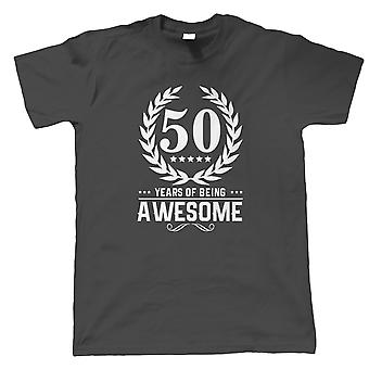 50 Years Of Being Awesome Mens T-Shirt   Happy Birthday Celebration Party Getting Older   Age Related Year Birthday Novelty Gift Present   Birthday Gift Him Dad