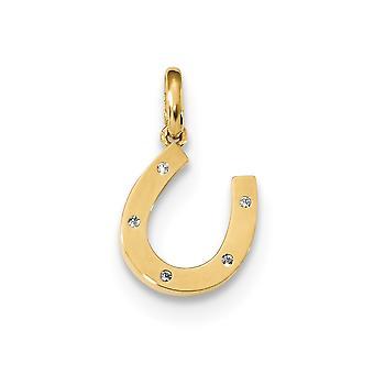 14k für Jungen oder Mädchen CZ Zirkonia simuliert Diamant Hufeisen Anhänger Halskette