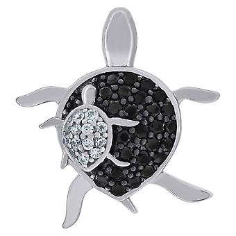 925 Sterling Silver Mens Women Black CZ Mom and Child Turtle Charm Pendant Necklace Measures 18.2x16mm Wide Jewelry Gift