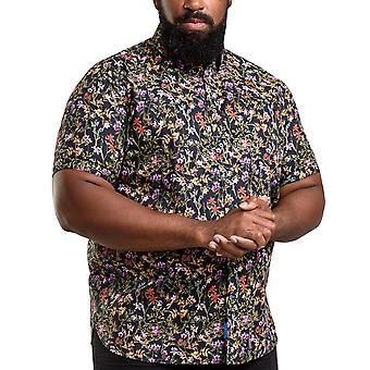 Duke D555 hombres Emmet grande alto tamaño tamaño Floral botón hasta algodón camisa Top Negro