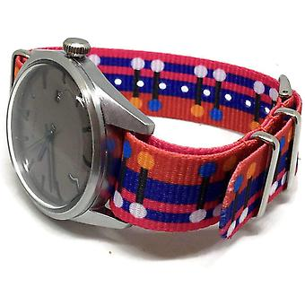 N.a.t.o zulu g10 style watch strap 20mm switch red blue pattern stainless steel buckle
