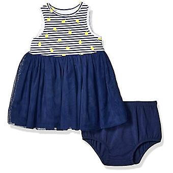 Little Me Baby Girl's Girl Mesh Dress with Panty Dress,, Navy, Size 12 Months