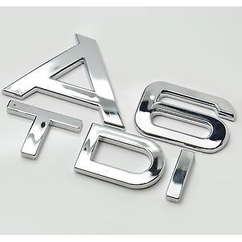 Silver Chrome Audi A6 TDI Lettering Rear Boot Lid Trunk Badge Emblem For A6 Models