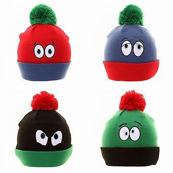 Barnens/ungar nyhet ögon Winter Ski hatt med Pom-Pom