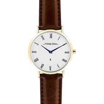 Watch Andreas Osten AO-72 - Leather Watch Marron Bo tier Dor Mixed