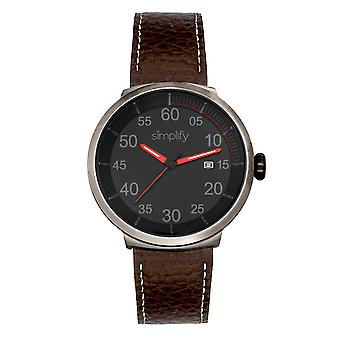 Vereenvoudig de 7100 Leather-Band Watch w/Date - Donkerbruin/Rood