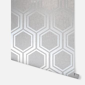 910206 - Luxe Hexagon Prata - Arthouse Wallpaper