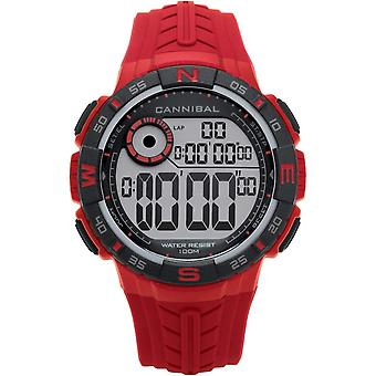 Cannibal Active Boys/Teen Digital Chronograph Red Silicone Strap Watch CD275-06