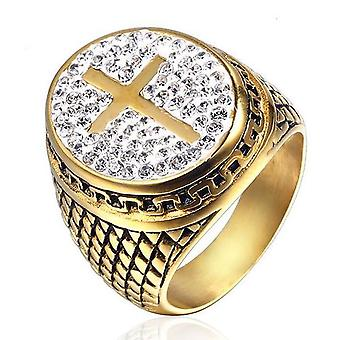 Knights templar cross zirconia signet oval ring