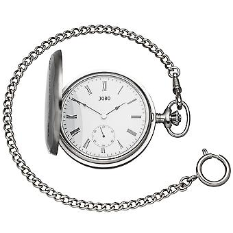 JOBO pocket watch with chain hand winding chromed 2 jump lid