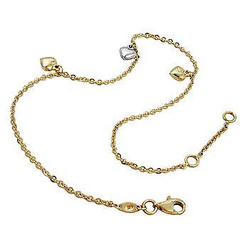 Anklet złoto 375 stóp łańcucha złoto, łańcuch z 3 serca, 9 KT złoto