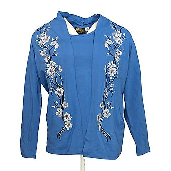 Bob Mackie Women's Sweater Embroidered Cardigan & Knit Tank Blue A288443