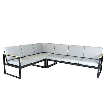Charles Bentley Black Square Legs Strong Extrusion Aluminium Corner Sofa Lounge Dining Set con 10cm Thick Cushion Polyester Industrial Style