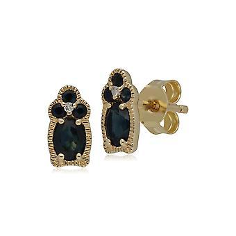 Classic Sapphire & Diamond Stud korvakorut 9ct Keltainen Kulta 135E1479019