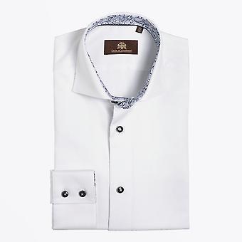Circle Of Gentlemen  - Deston - Print Trim Insert Shirt - White