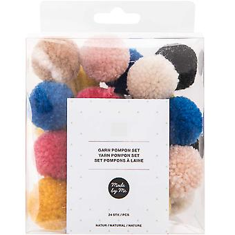 24 Assorted Colour 3cm Yarn Craft Pom Poms - Natural Mix