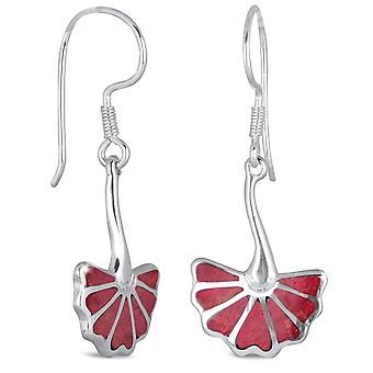 ADEN 925 Sterling Silver Coral Earrings (id 2110)